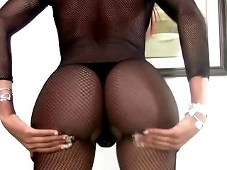 Ebony tranny in fishnet is shaking big ass