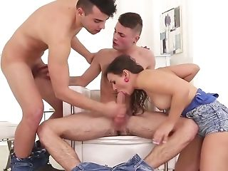 Anina Silk Fucked By Huge Cock In Bisexual Threesome