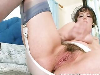 Big natural tits brunette Kate Anne fingers her hairy wet pussy in retro nylons