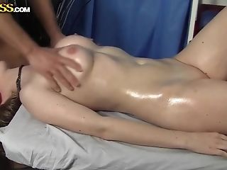 Pale blonde slut Lora pleasures her filthy masseur