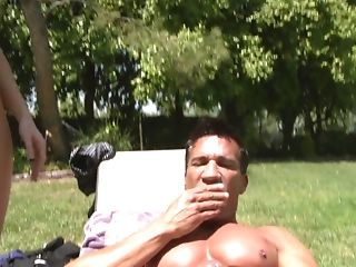 Blonde Jennifer Dark with huge hooters gets her mouth stretched by meaty rock solid pole of Marco Banderas