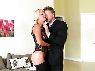 Blonde asks her man to stick his beefy meat stick in her mouth