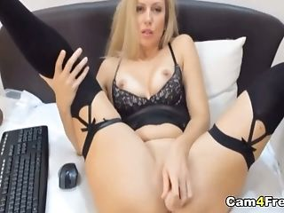 Gorgeous Blonde Strips And Masturbates Her Pink Pussy