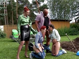 Exciting fully clothed hardcore foursome with sluts outdoors