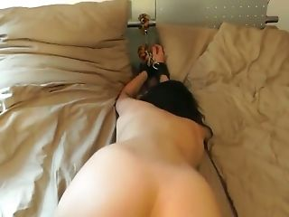 Blindfolded sweetheart of mine is handcuffed while I fuck her doggy hard