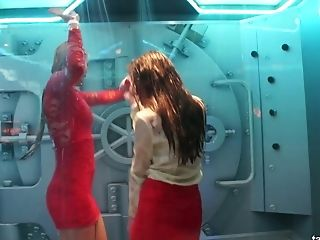 Spoiled chicks dance and feel up each other under the shower in one night club