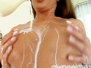 Give Me Pink Wanda's oiled up and spreads her pussy and ass