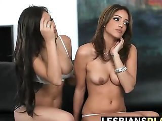 Mel and Nina get horny on couch and loves to finger pussy