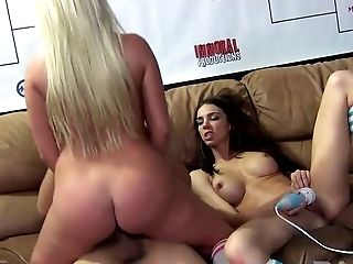 Buxom blond hoe Britney Amber shares meaty cock with black haired bitch