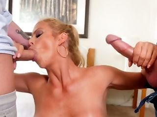 Horny oiled up babe with big boobs Alexis Fawx is having dirty sex with two dudes