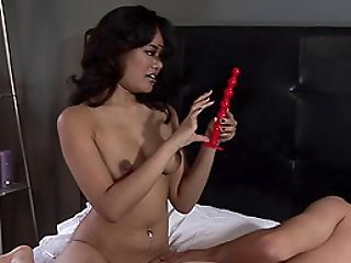 Alluring brunette with natural tits loving pegging her guys tight anal passionately