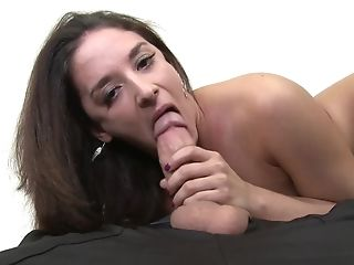 Brunette honey Sheena Ryder does lewd things and then gets jizz covered