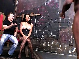 Exotic mistress Dana Vespoli in crotchless pantyhose and corset shows
