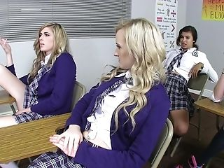 Raw sex in class with schoolgirls and the lucky teacher