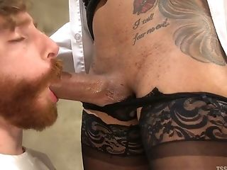 Tattooed leggy Latina ladyboy properly pounds asshole of submissive dude