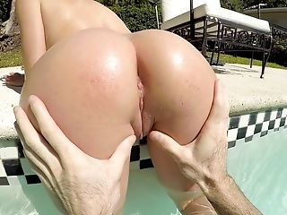 Good excellent fucking by the pool and Ashly Anderson loves to ride a dick