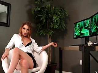 Sweetest redhead sits in front of the PC totally naked and sexy