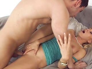 Big Tits, Blonde, Blowjob, Couch, Cowgirl, Cumshot, Doggystyle, Facial, Fake Tits, Hardcore,