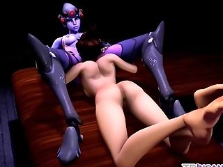 Widowmaker and Dva taking huge cocks in their cunts doggystyle and cowgirl style