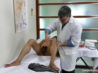 Doctor Daddy is performing a kinky medical exam on his young patient Robin
