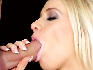 Blonde gets her pretty face covered in sperm on cam for your viewing entertainment