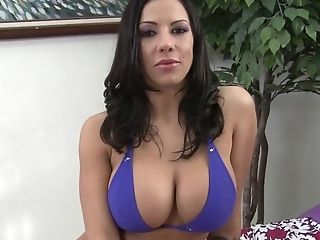 Brunette Lylith Lavey with giant boobs satisfies mans sexual needs and desires and then gets covered in cock juice