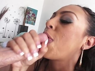 Warm darky bombshell with massive tits makes her dirty dreams a come true with dude's love wand deep down her throat