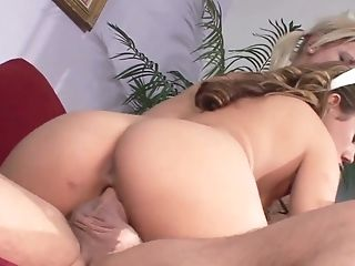 One dude fucks two super yummy lesbian girlfriends and cums in their mouths