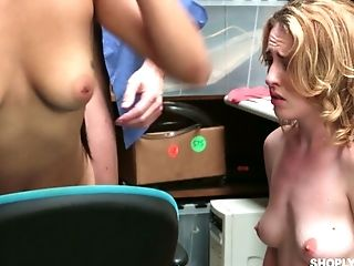 Two shoplifting chicks serve one kinky cop in the back room