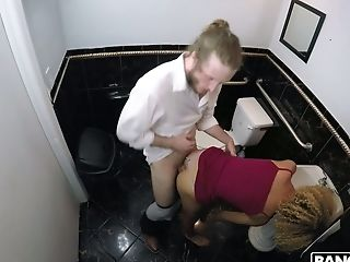 Curly ardent Latina nympho with small tits Xianna Hill gets fucked in toilet