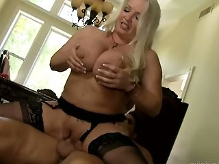Hazel eyed big breasted blonde housewife Rachel Love is fucked hard