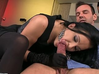 Sexy lady in black Clair Brooks has sex with two men