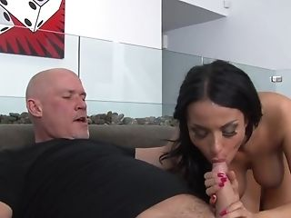 Older guy with a large cock fucks provocative model Anissa Kate