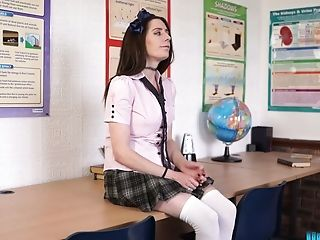 Full natural English college chick Samantha Bentley strips and teases