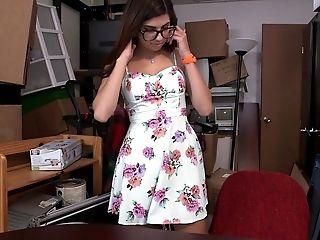 Amateur, American, Backroom, Bold, Dress, Glasses, Natural Tits, POV, Teen, Undressing,