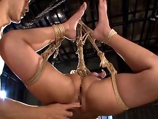 Rope bound Japanese cutie fondled and vibrated by multiple guys