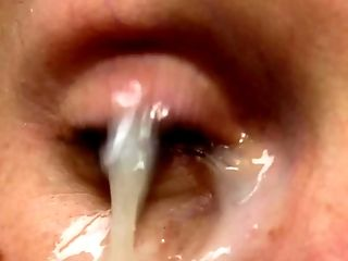 Closeup of a cumshot RIGHT IN MY EYE