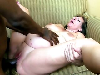 Ugly pregnant blond haired whore rides and sucks massive black cock