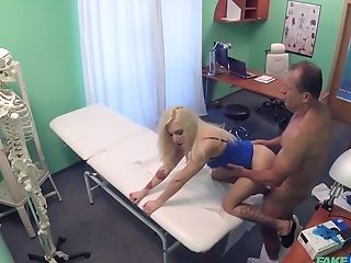 Blonde chick comes to visit her doctor and fucks with him badly