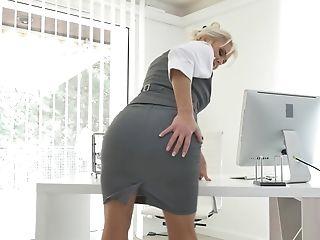 Big Tits, Blonde, Kathy Anderson, Model, Natural Tits, Naughty, Office, Pornstar, Secretary, Solo,